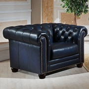 Amax Nebraska Chesterfield Genuine Leather Armchair