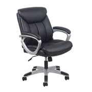 Essentials by OFM ESS-6020 Black Leather Chair, Swivel and Tilt Control, Fixed Loop Padded Arms, Painted Silver Frame