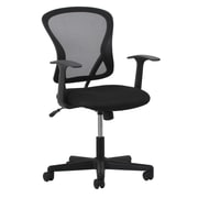 Essentials by OFM ESS-3011 Mesh Back Chair, Swivel and Tilt Control, Fixed T Arms, Black Frame, Black Fabric, Black Mesh
