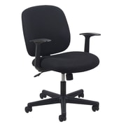 Essentials by OFM ESS-3070 Upholstered Chair, Swivel and Tilt Control, Fixed T Arms, Black Frame, Black Fabric