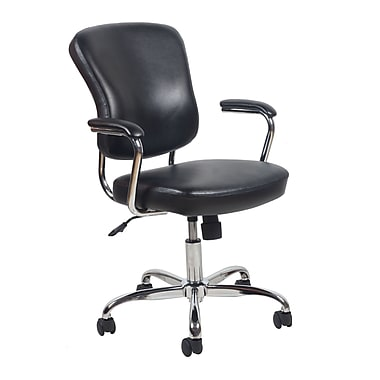 Essentials by OFM ESS-6080-BLK Leather Office Chair Fixed Arms, Black