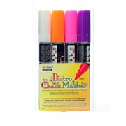 Marvy Uchida Bistro Chalk Marker Sets Broad Point White, Fl. Violet, Fl. Orange, Fl. Pink [Pack Of 2] (2PK-480-4B)