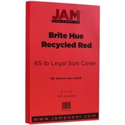 "JAM Paper® 8 1/2"" x 14"" Legal Size Recycled Cardstock, Brite Hue Red, 50/Pack (16730927)"