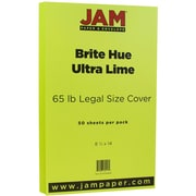 "JAM Paper® 8 1/2"" x 14"" Legal Size Cardstock, Brite Hue Ultra Lime Green, 50/Pack (16730929)"