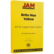 "JAM Paper® 8 1/2"" x 14"" Legal Size Recycled Cardstock, Brite Hue Yellow, 50/Pack (16730930)"