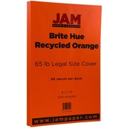 "JAM Paper® 8 1/2"" x 14"" Legal Size Recycled Cardstock, Orange Brite Hue Recycled, 50/Pack (16730931)"