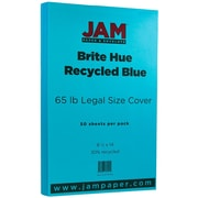 "JAM Paper® 8 1/2"" x 14"" Legal Size Recycled Cardstock, Brite Hue Blue, 50/Pack (16730932)"