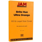 "JAM Paper® 8 1/2"" x 14"" Legal Size Cardstock, Brite Hue Ultra Orange, 50/Pack (16730934)"