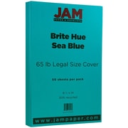 "JAM Paper® 8 1/2"" x 14"" Legal Size Recycled Cardstock, Brite Hue Sea Blue, 50/Pack (16730935)"