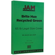 "JAM Paper® 8 1/2"" x 14"" Legal Size Recycled Cardstock, Brite Hue Green, 50/Pack (16730936)"