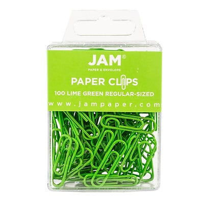 JAM Paper Colored Standard Paper Clips, Small, Lime Green, 100/pack (21830624) 2329716