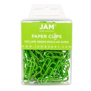 JAM Paper® Colored Standard Paper Clips,  Small,  Lime Green,  100/pack (21830624)