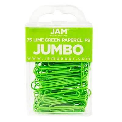 JAM Paper Jumbo Paper Clips, Large 2 Inch Paperclips, Lime Green 2 Inch Paperclips, 75/pack (21830627) 2329718