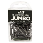 JAM Paper®  Colored Jumbo Paper Clips,  Gray Paperclips, 75/pack (21830628)