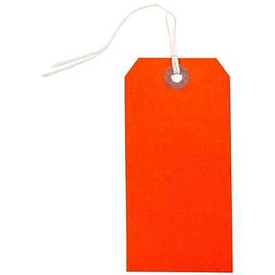 JAM Paper Gift Tags with String Medium 4 3 4 x 2 3 8 Neon Red 10 Pack 91931038