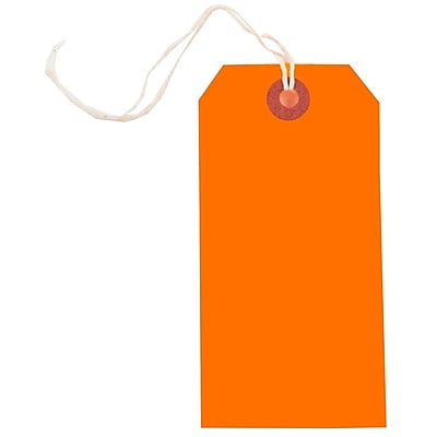 JAM Paper Gift Tags with String Medium 4 3 4 x 2 3 8 Neon Orange 10 Pack 91931039