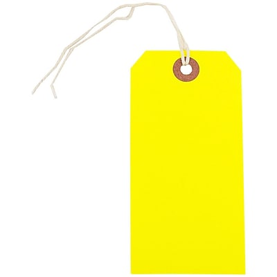JAM Paper Gift Tags with String Medium 4 3 4 x 2 3 8 Neon Yellow 10 Pack 91931040