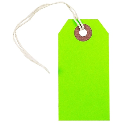 JAM Paper Gift Tags with String Small 3 1 4 x 1 5 8 Neon Green 10 Pack 91931042