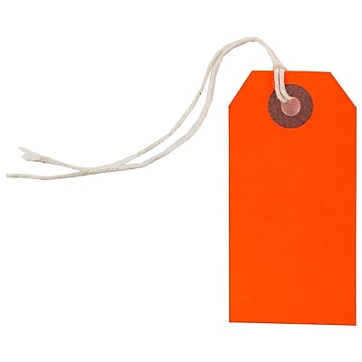 JAM Paper Gift Tags with String Small 3 1 4 x 1 5 8 Neon Red 10 Pack 91931043