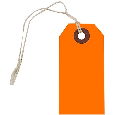 JAM Paper Gift Tags with String Small 3 1 4 x 1 5 8 Neon Orange 10 Pack 91931044