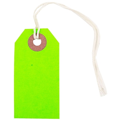 JAM Paper Gift Tags with String Tiny 2 3 4 x 1 3 8 Neon Green 10 Pack 91931047