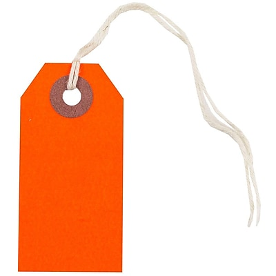 JAM Paper Gift Tags with String Tiny 2 3 4 x 1 3 8 Neon Red 10 Pack 91931048