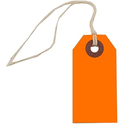 JAM Paper Gift Tags with String Tiny 2 3 4 x 1 3 8 Neon Orange 10 Pack 91931049