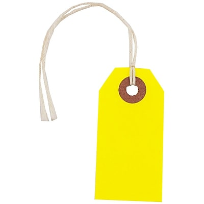 JAM Paper Gift Tags with String Tiny 2 3 4 x 1 3 8 Neon Yellow 10 Pack 91931050