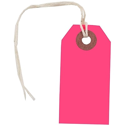 JAM Paper Gift Tags with String Tiny 2 3 4 x 1 3 8 Neon Pink 10 Pack 91931051