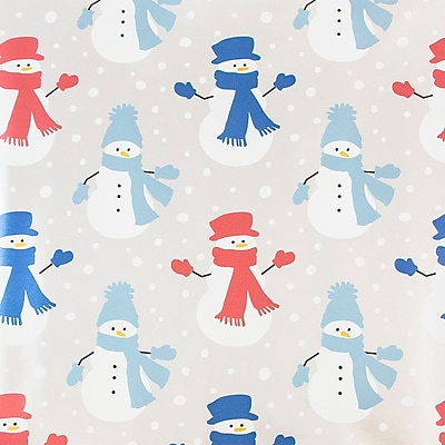 JAM Paper Christmas Wrapping Paper, Snowmen with