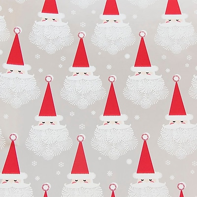 JAM Paper Christmas Wrapping Paper, Snowflake Santa