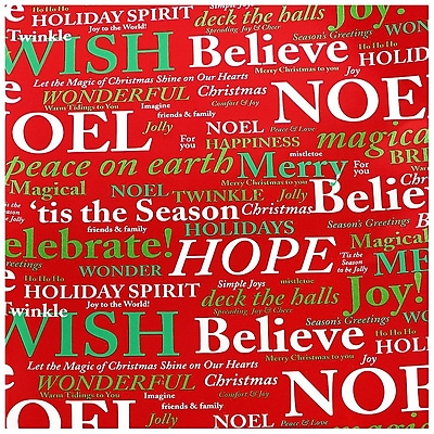 JAM Paper Christmas Wrapping Paper, Red Noel