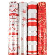 JAM Paper® Premium Christmas Gift Wrap Assortment, Modern Christmas Wrapping Paper, 180 Sq Ft, 4/Pack (165531137)