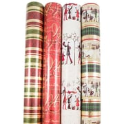 JAM Paper® Premium Christmas Gift Wrap Assortment, Traditional Christmas Wrapping Paper, 180 Sq Ft, 4/Pack (165531142)