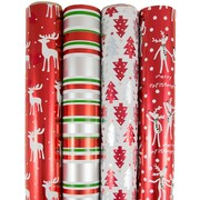 JAM Paper® Premium Christmas Gift Wrap Assortment, Ready Reindeer Wrapping Paper, 180 Sq Ft, 4/Pack (165531233)