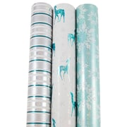JAM Paper® Premium Christmas Gift Wrap Assortment, Icy Holiday Wrapping Paper, 150 Sq Ft, 3/Pack (165531241)