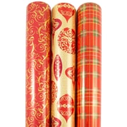 JAM Paper® Premium Christmas Gift Wrap Assortment, Shimmering Patterns & Plaid Wrapping Paper, 150 Sq Ft, 3/Pack (165531242)