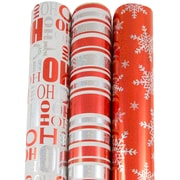 JAM Paper® Premium Christmas Gift Wrap Assortment, Glittering Christmas Wrapping Paper, 150 Sq Ft, 3/Pack (165531243)