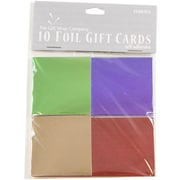 JAM Paper® Foldover Foil Gift Tag Cards, Green, Purple, Gold, Red, 10/Pack (367530924)