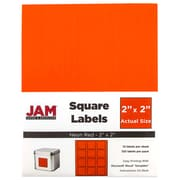 "JAM Paper® Square Address Labels, 2"" x 2"", Neon Red, 120/Pack (367831071)"