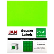 "JAM Paper® Square Address Labels, 2"" x 2"", Neon Green, 120/Pack (367831072)"