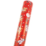 JAM Paper® Premium Christmas Wrapping Paper, Double Sided Jumbo Roll, Hockey Holiday & Green Snowflake, 366 Sq Ft. (368231255)