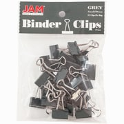 """JAM Paper® Binder Clips, Small, 0.75""""/19mm, Grey, 25/Pack (334BCGY)"""