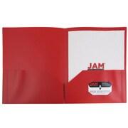 JAM Paper® Plastic 2 Pocket Eco Folders, Red, 96/Carton (382EREDB)