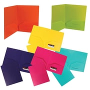 JAM Paper® Heavy Duty Plastic 2 Pocket School Presentation Folders, Assorted Fashion Colors, 6/Pack (383HFASSRT)