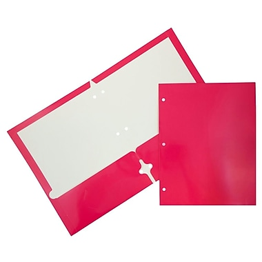 JAM Paper® Plastic Heavy Duty 3 Hole Punched 2 Pocket School Folders, Hot Pink, 108/pack (383HHPFUA)