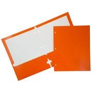 JAM Paper® Glossy 2 Pocket 3 Hole Punched Folders, Orange, 50/box (385GHPORC)