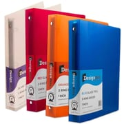 JAM Paper® Assorted 1 Inch Plastic 3 Ring Binders, Red, Green, Blue, Orange, 4/Pack (751T1RBORCL)