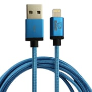 Rhino 6.6ft Braided Nylon MFi Lightning Cable w/ Aluminum Alloy Connector Cable, Blue