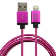 Rhino 6.6ft Braided Nylon MFi Lightning Cable w/ Aluminum Alloy Connector Cable, Magenta